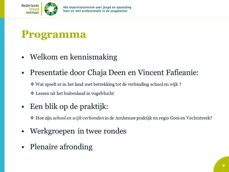 Programma Welkom en kennismaking Presentatie door Chaja Deen en Vincent Fafieanie:  Wat speelt er in het land met betrekking tot de verbinding school en wijk .