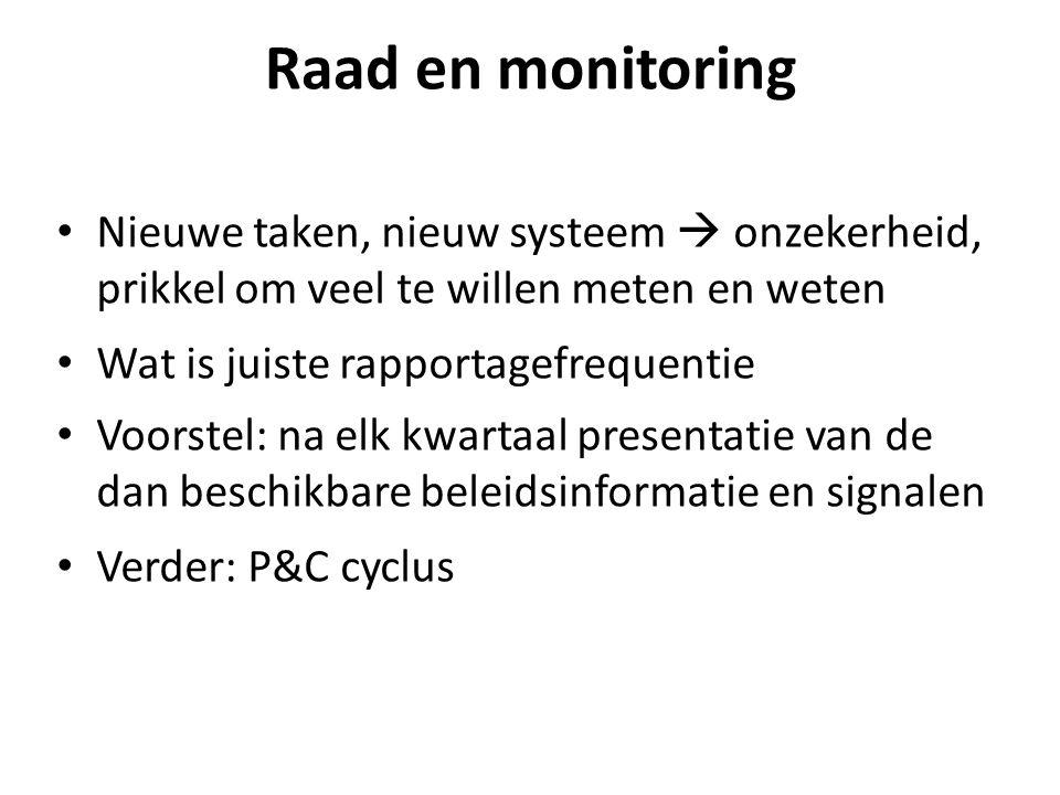 Raad en monitoring Nieuwe taken, nieuw systeem  onzekerheid, prikkel om veel te willen meten en weten Wat is juiste rapportagefrequentie Voorstel: na elk kwartaal presentatie van de dan beschikbare beleidsinformatie en signalen Verder: P&C cyclus