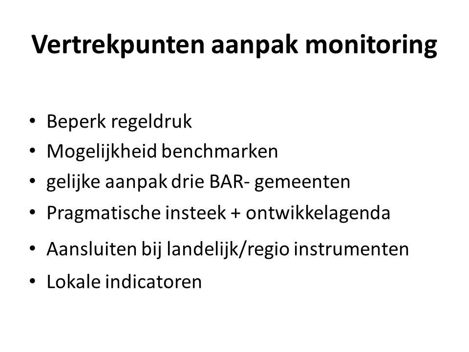 Vertrekpunten aanpak monitoring Beperk regeldruk Mogelijkheid benchmarken gelijke aanpak drie BAR- gemeenten Pragmatische insteek + ontwikkelagenda Aansluiten bij landelijk/regio instrumenten Lokale indicatoren