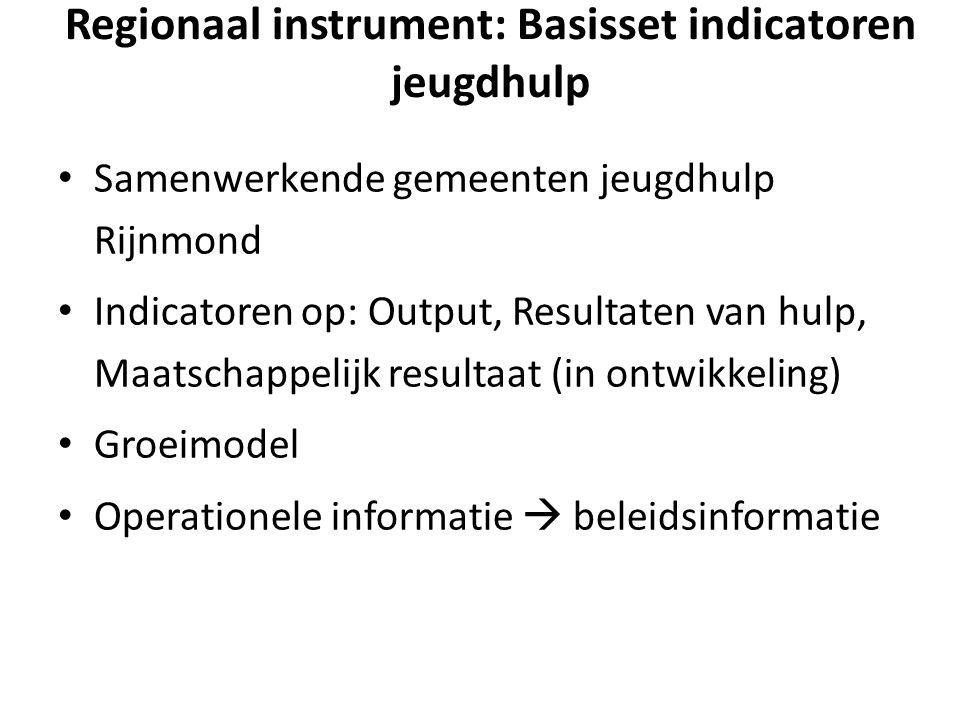 Regionaal instrument: Basisset indicatoren jeugdhulp Samenwerkende gemeenten jeugdhulp Rijnmond Indicatoren op: Output, Resultaten van hulp, Maatschappelijk resultaat (in ontwikkeling) Groeimodel Operationele informatie  beleidsinformatie