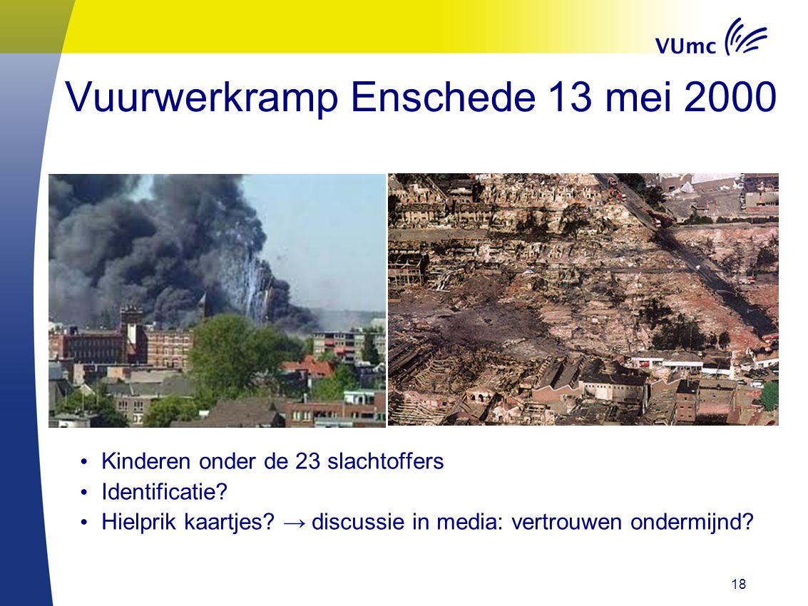 18 Vuurwerkramp Enschede 13 mei 2000 Kinderen onder de 23 slachtoffers Identificatie? Hielprik kaartjes? → discussie in media: vertrouwen ondermijnd?