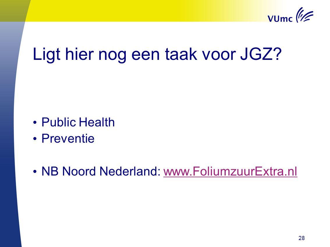 28 Ligt hier nog een taak voor JGZ? Public Health Preventie NB Noord Nederland: www.FoliumzuurExtra.nlwww.FoliumzuurExtra.nl