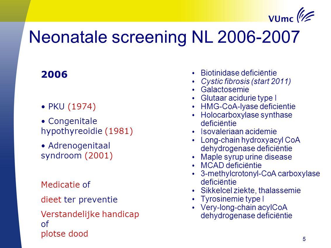 5 Neonatale screening NL 2006-2007 Biotinidase deficiëntie Cystic fibrosis (start 2011) Galactosemie Glutaar acidurie type I HMG-CoA-lyase deficientie Holocarboxylase synthase deficiëntie Isovaleriaan acidemie Long-chain hydroxyacyl CoA dehydrogenase deficiëntie Maple syrup urine disease MCAD deficiëntie 3-methylcrotonyl-CoA carboxylase deficiëntie Sikkelcel ziekte, thalassemie Tyrosinemie type I Very-long-chain acylCoA dehydrogenase deficiëntie 2006 PKU (1974) Congenitale hypothyreoidie (1981) Adrenogenitaal syndroom (2001) Medicatie of dieet ter preventie Verstandelijke handicap of plotse dood