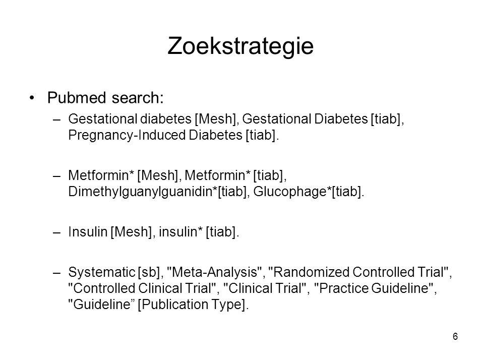 6 Zoekstrategie Pubmed search: –Gestational diabetes [Mesh], Gestational Diabetes [tiab], Pregnancy-Induced Diabetes [tiab]. –Metformin* [Mesh], Metfo