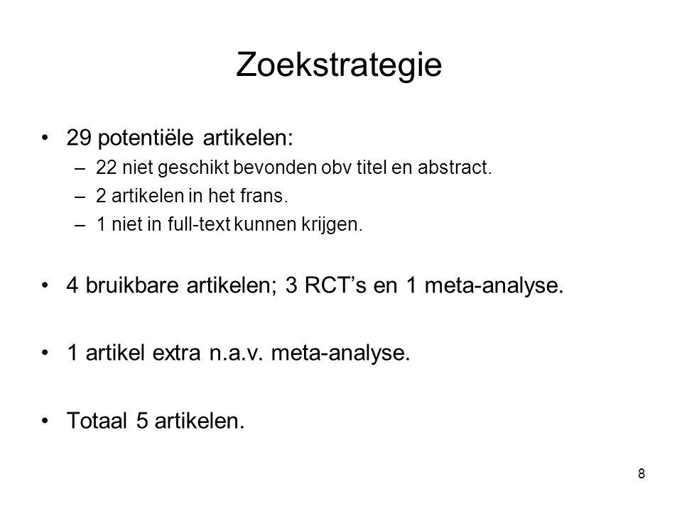 Zoekstrategie 29 potentiële artikelen: –22 niet geschikt bevonden obv titel en abstract. –2 artikelen in het frans. –1 niet in full-text kunnen krijge