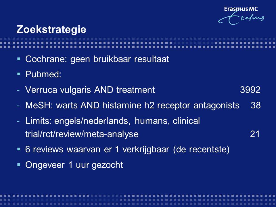Zoekstrategie  Cochrane: geen bruikbaar resultaat  Pubmed: -Verruca vulgaris AND treatment 3992 -MeSH: warts AND histamine h2 receptor antagonists 38 -Limits: engels/nederlands, humans, clinical trial/rct/review/meta-analyse 21  6 reviews waarvan er 1 verkrijgbaar (de recentste)  Ongeveer 1 uur gezocht