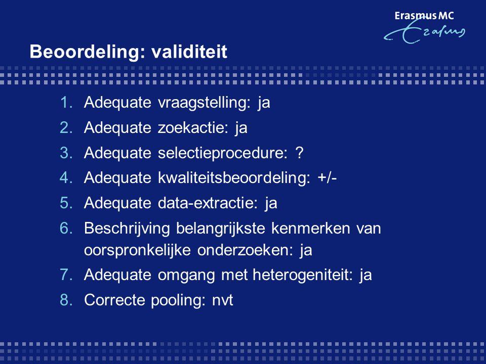 Beoordeling: validiteit 1.Adequate vraagstelling: ja 2.Adequate zoekactie: ja 3.Adequate selectieprocedure: .