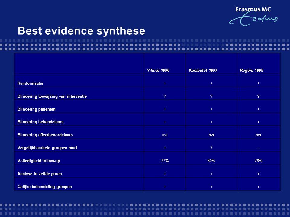 Best evidence synthese Yilmaz 1996Karabulut 1997Rogers 1999 Randomisatie+++ Blindering toewijzing van interventie??.