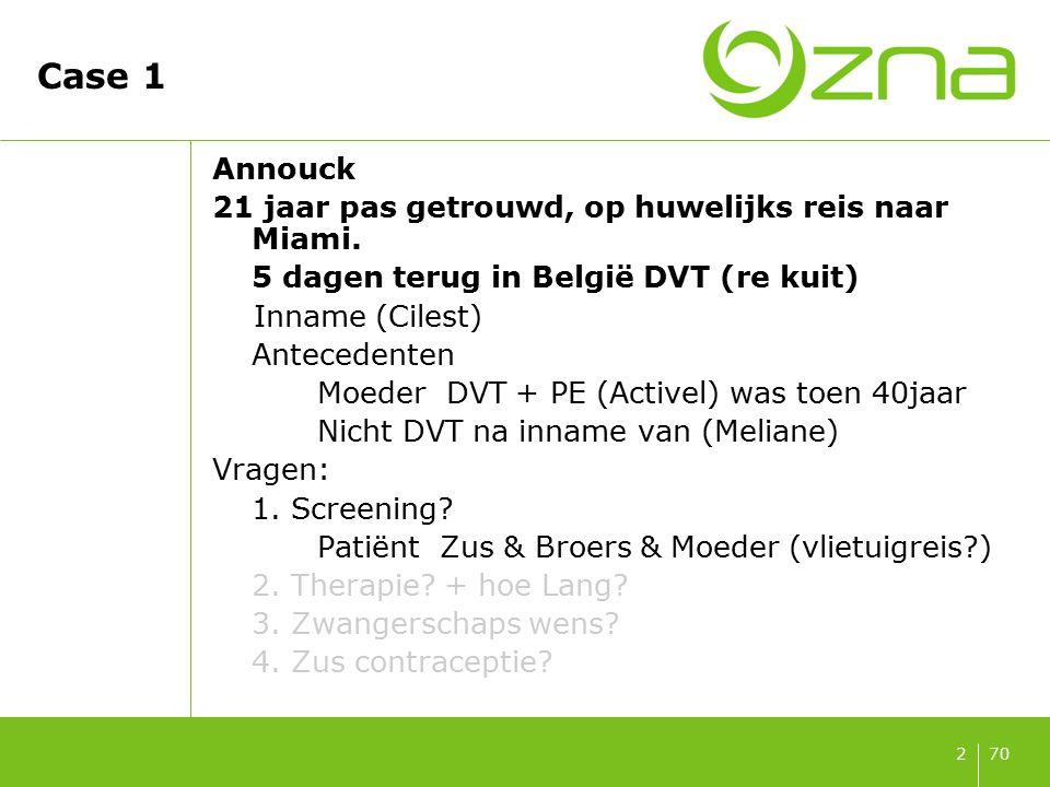 7013 Hoelang antico 3 – 6 maanden.Quid invloed van heterozygote status factor V Leiden.