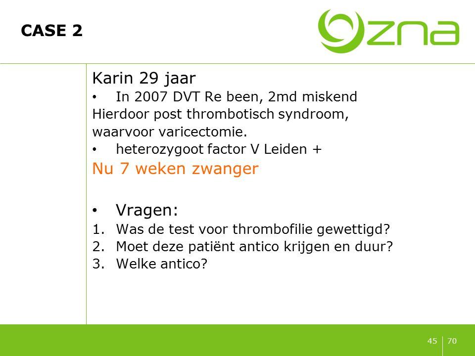 7045 CASE 2 Karin 29 jaar In 2007 DVT Re been, 2md miskend Hierdoor post thrombotisch syndroom, waarvoor varicectomie. heterozygoot factor V Leiden +