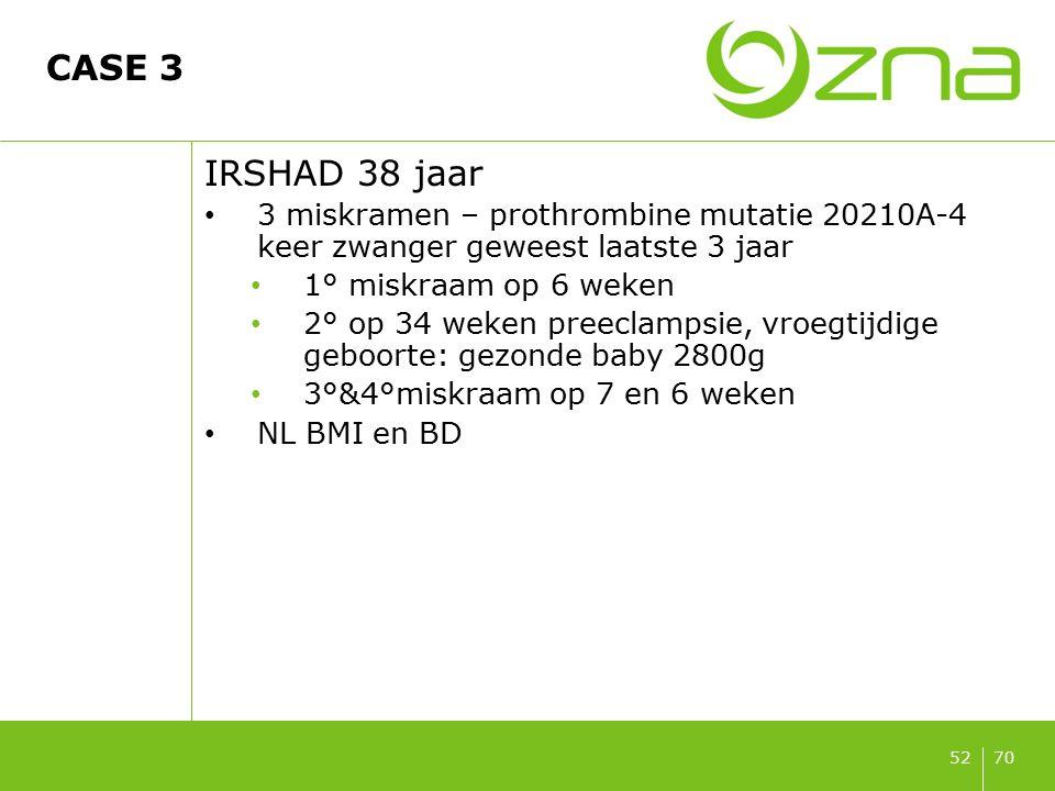 7052 CASE 3 IRSHAD 38 jaar 3 miskramen – prothrombine mutatie 20210A-4 keer zwanger geweest laatste 3 jaar 1° miskraam op 6 weken 2° op 34 weken preec