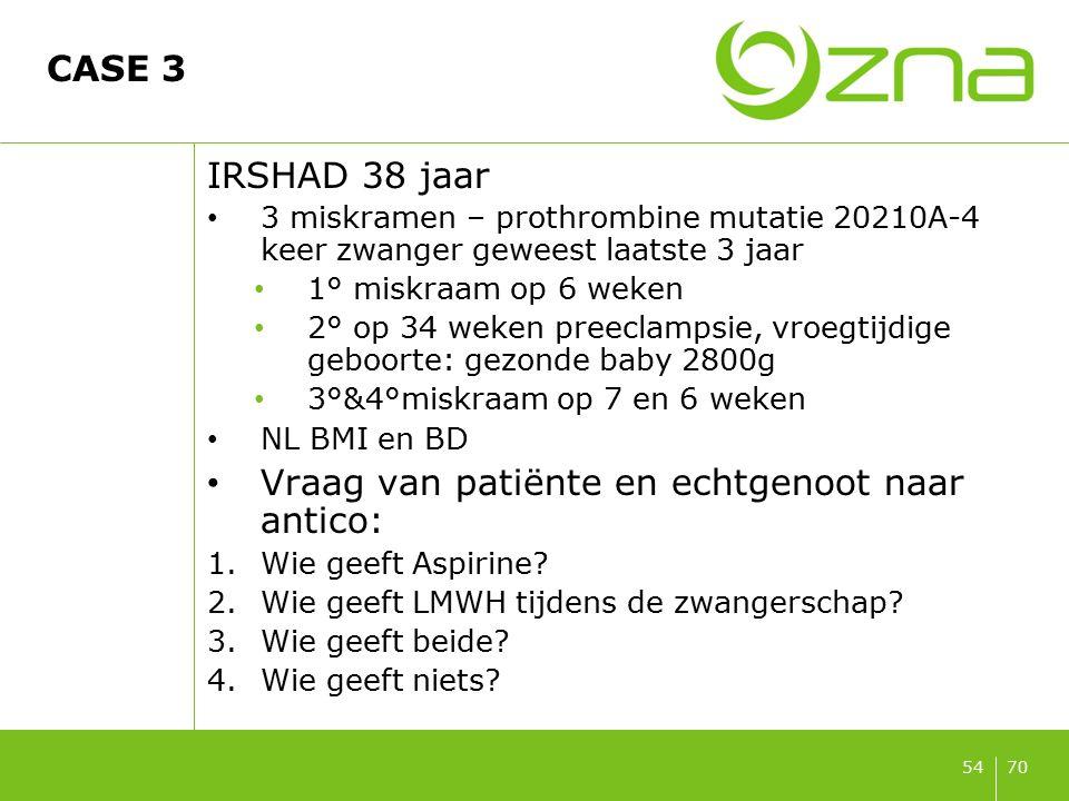 7054 CASE 3 IRSHAD 38 jaar 3 miskramen – prothrombine mutatie 20210A-4 keer zwanger geweest laatste 3 jaar 1° miskraam op 6 weken 2° op 34 weken preec