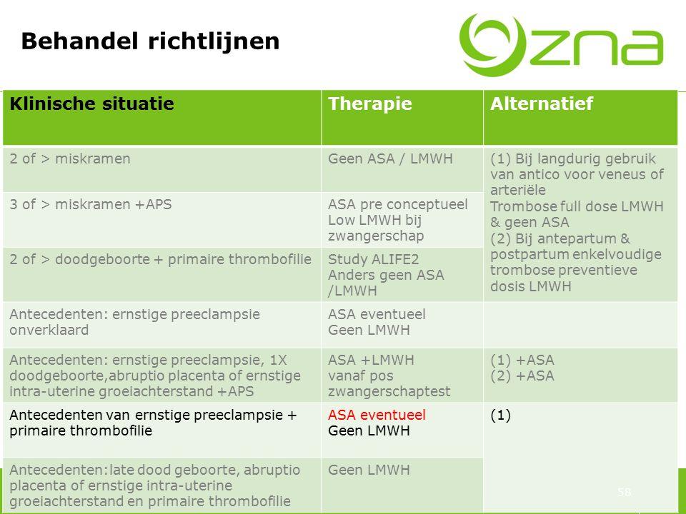 70 Behandel richtlijnen Klinische situatieTherapieAlternatief 2 of > miskramenGeen ASA / LMWH(1) Bij langdurig gebruik van antico voor veneus of arter