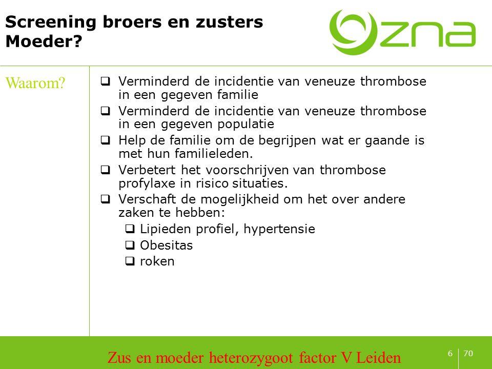 706 Screening broers en zusters Moeder? Waarom? Zus en moeder heterozygoot factor V Leiden  Verminderd de incidentie van veneuze thrombose in een geg