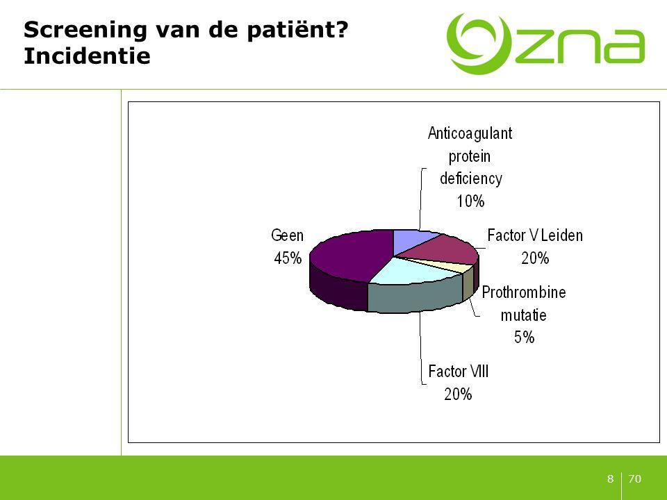 708 Screening van de patiënt? Incidentie