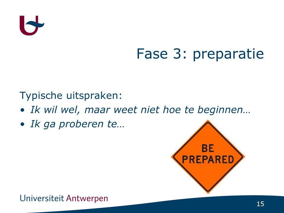 15 Fase 3: preparatie Typische uitspraken: Ik wil wel, maar weet niet hoe te beginnen… Ik ga proberen te…