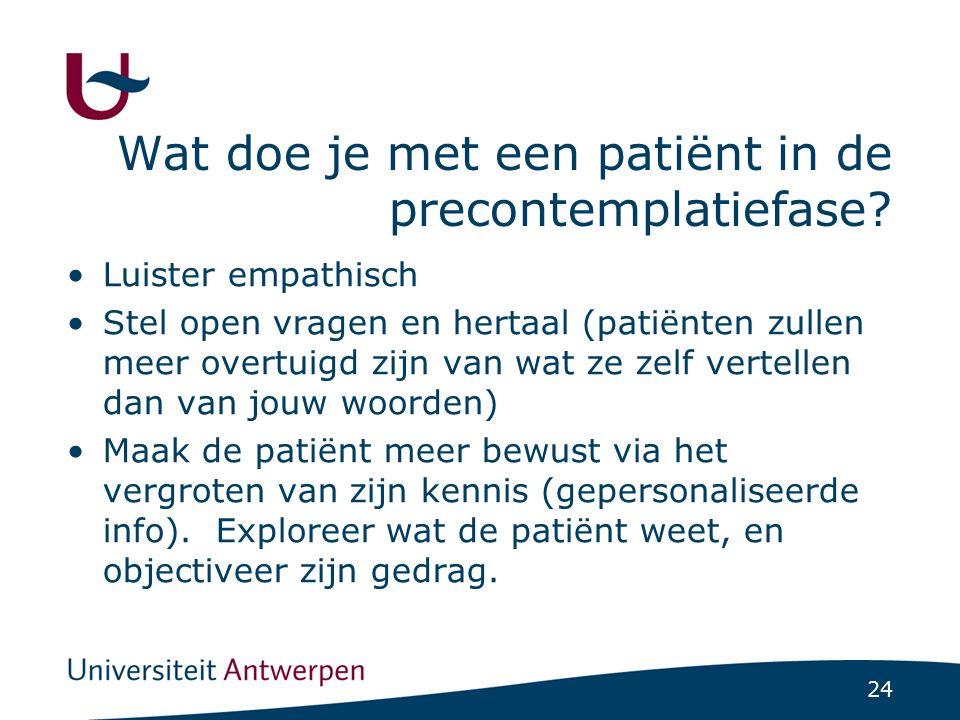 24 Wat doe je met een patiënt in de precontemplatiefase? Luister empathisch Stel open vragen en hertaal (patiënten zullen meer overtuigd zijn van wat