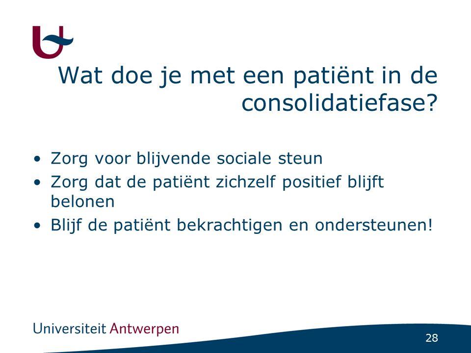 28 Wat doe je met een patiënt in de consolidatiefase? Zorg voor blijvende sociale steun Zorg dat de patiënt zichzelf positief blijft belonen Blijf de