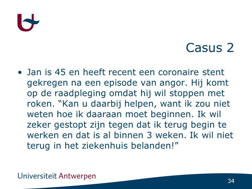 34 Casus 2 Jan is 45 en heeft recent een coronaire stent gekregen na een episode van angor. Hij komt op de raadpleging omdat hij wil stoppen met roken
