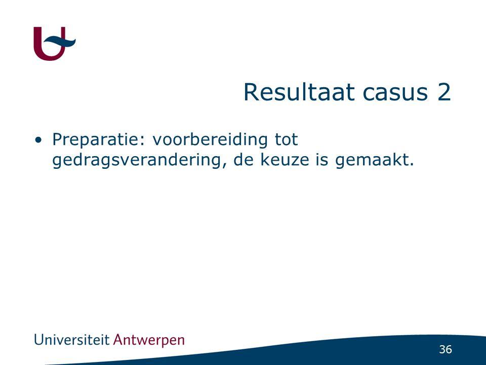 36 Resultaat casus 2 Preparatie: voorbereiding tot gedragsverandering, de keuze is gemaakt.