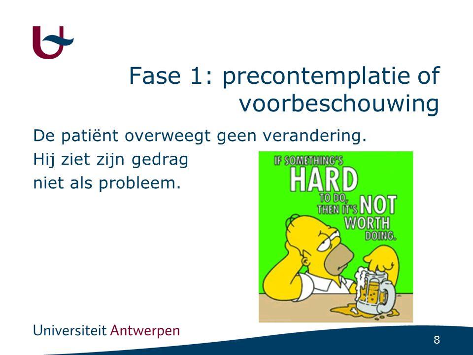8 Fase 1: precontemplatie of voorbeschouwing De patiënt overweegt geen verandering. Hij ziet zijn gedrag niet als probleem.