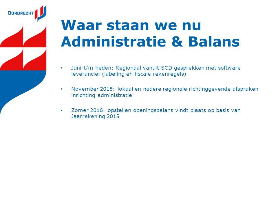 Waar staan we nu Administratie & Balans Juni-t/m heden: Regionaal vanuit SCD gesprekken met software leverancier (labeling en fiscale rekenregels) Nov