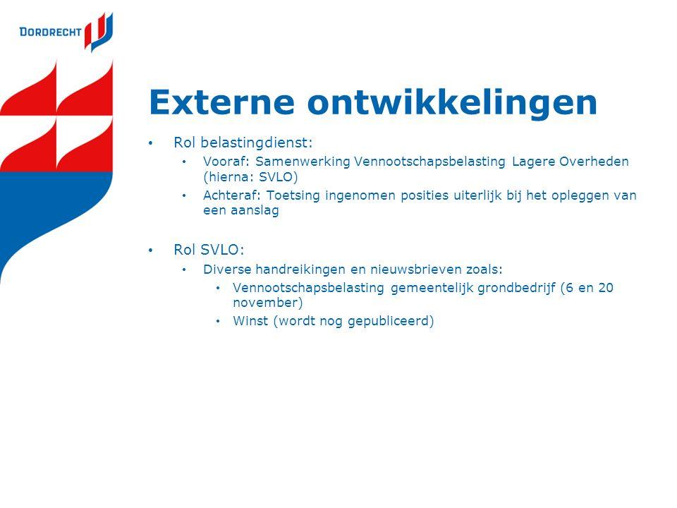 Externe ontwikkelingen Rol belastingdienst: Vooraf: Samenwerking Vennootschapsbelasting Lagere Overheden (hierna: SVLO) Achteraf: Toetsing ingenomen p