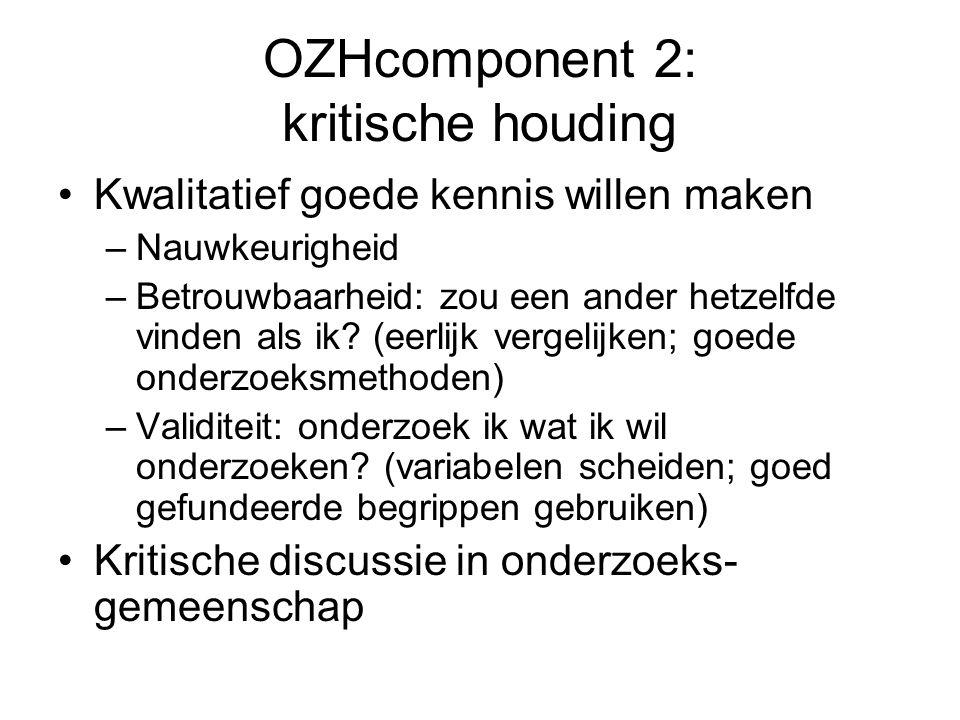 OZHcomponent 2: kritische houding Kwalitatief goede kennis willen maken –Nauwkeurigheid –Betrouwbaarheid: zou een ander hetzelfde vinden als ik.