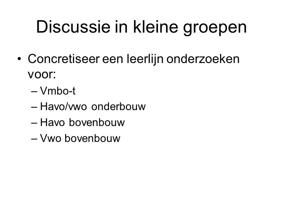 Discussie in kleine groepen Concretiseer een leerlijn onderzoeken voor: –Vmbo-t –Havo/vwo onderbouw –Havo bovenbouw –Vwo bovenbouw