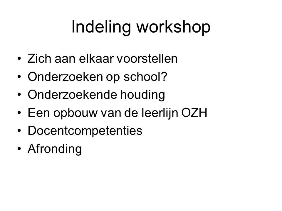 Indeling workshop Zich aan elkaar voorstellen Onderzoeken op school.