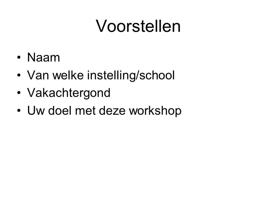 Voorstellen Naam Van welke instelling/school Vakachtergond Uw doel met deze workshop