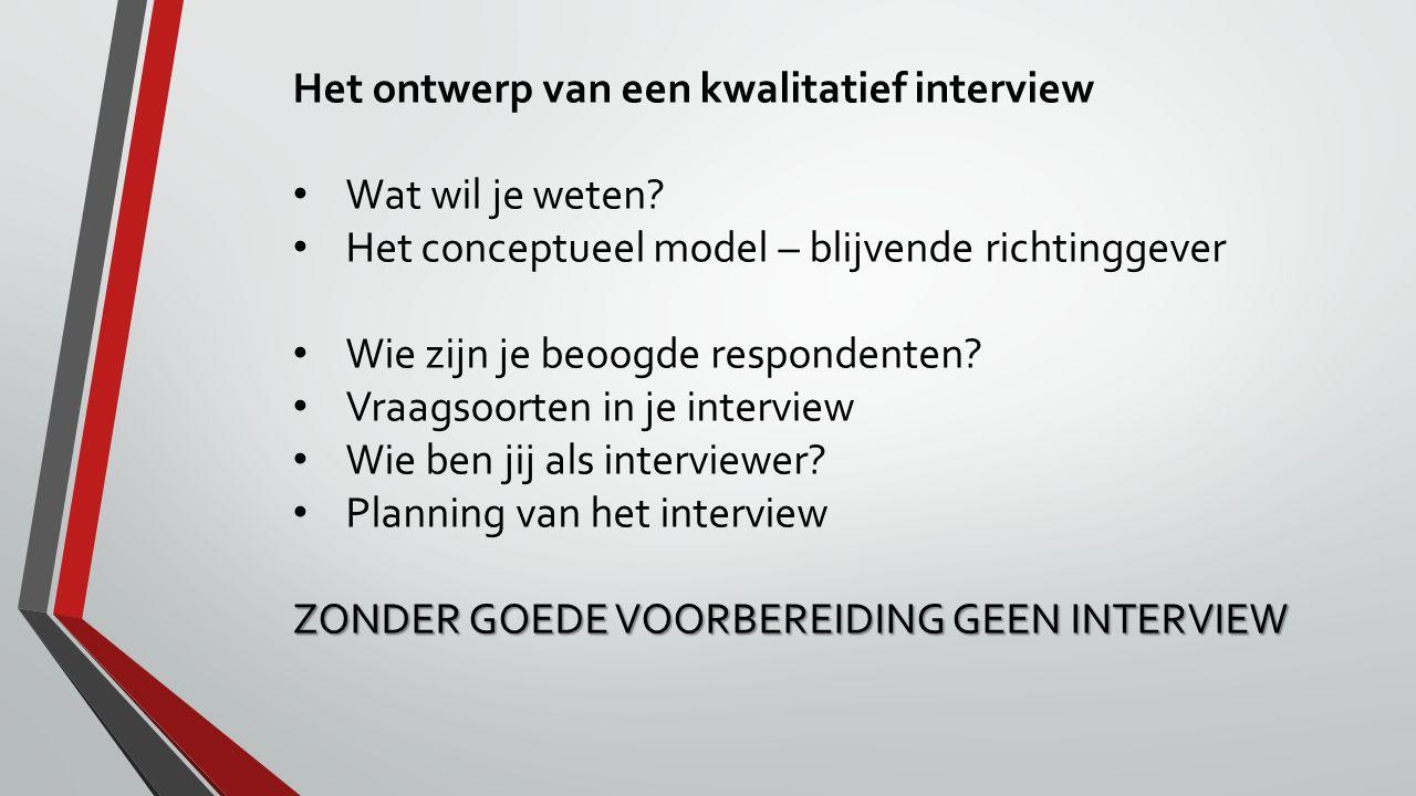 Het ontwerp van een kwalitatief interview Wat wil je weten? Het conceptueel model – blijvende richtinggever Wie zijn je beoogde respondenten? Vraagsoo