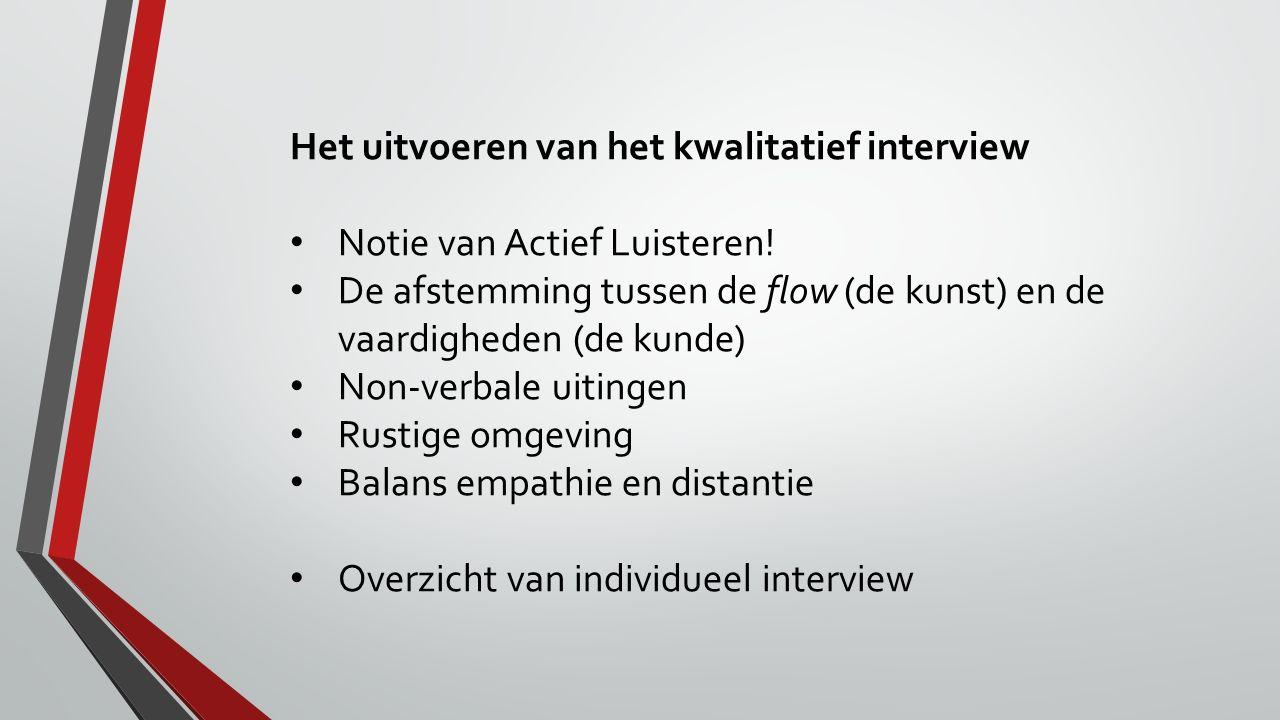 Het uitvoeren van het kwalitatief interview Notie van Actief Luisteren! De afstemming tussen de flow (de kunst) en de vaardigheden (de kunde) Non-verb