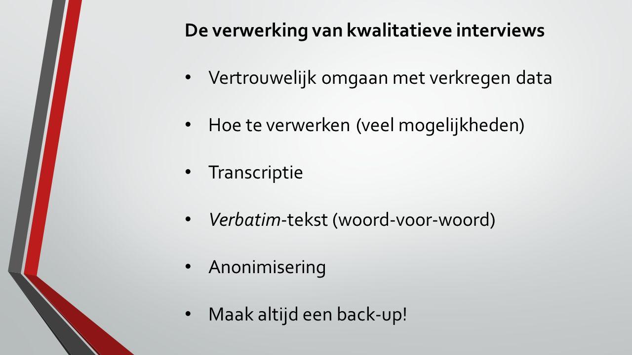 De verwerking van kwalitatieve interviews Vertrouwelijk omgaan met verkregen data Hoe te verwerken (veel mogelijkheden) Transcriptie Verbatim-tekst (w