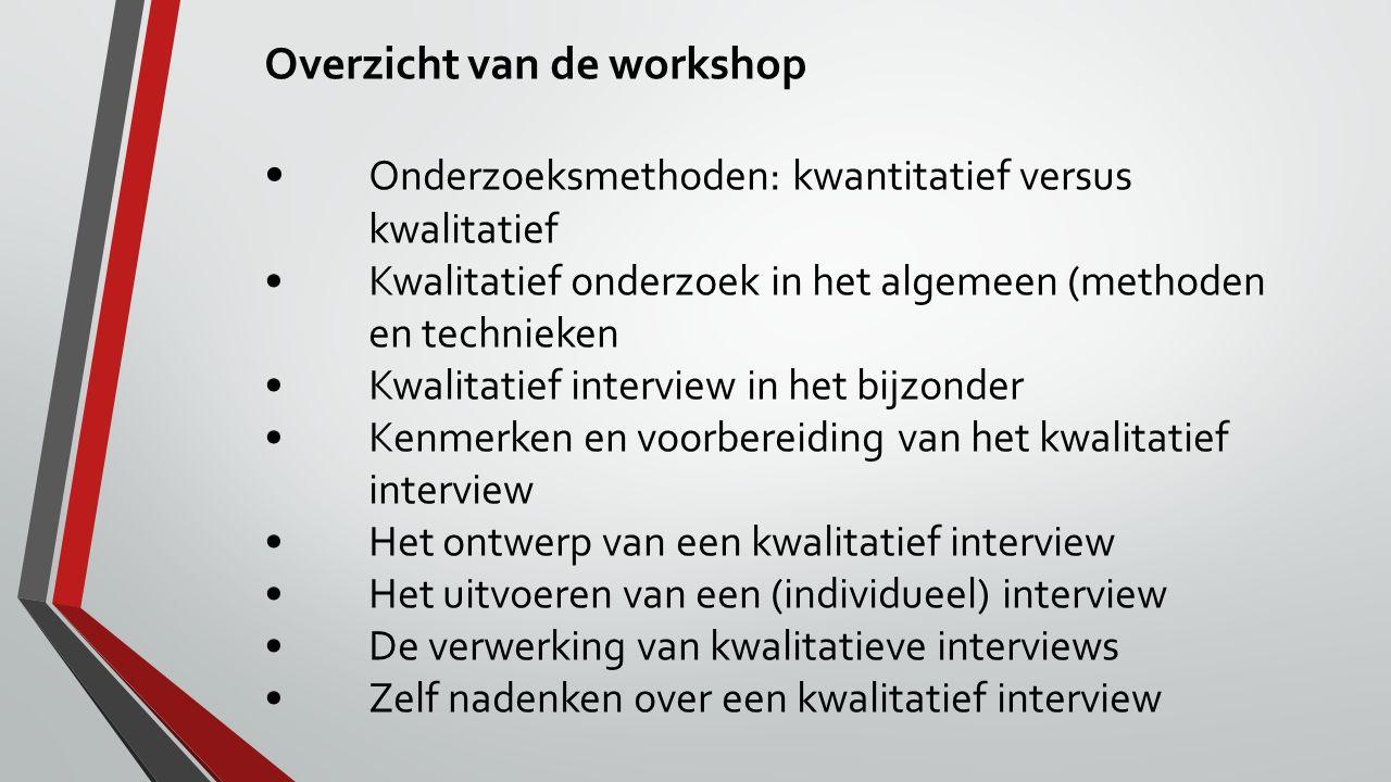 Overzicht van de workshop Onderzoeksmethoden: kwantitatief versus kwalitatief Kwalitatief onderzoek in het algemeen (methoden en technieken Kwalitatie