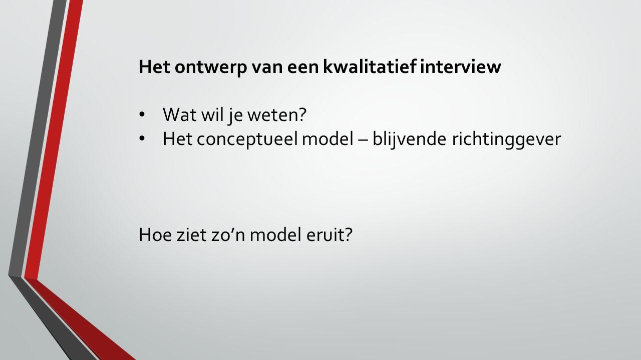 Het ontwerp van een kwalitatief interview Wat wil je weten? Het conceptueel model – blijvende richtinggever Hoe ziet zo'n model eruit?