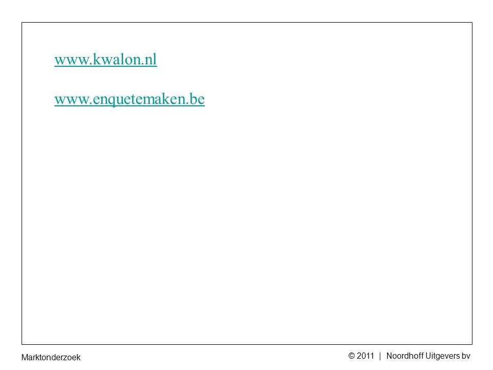 Marktonderzoek © 2011 | Noordhoff Uitgevers bv www.kwalon.nl www.enquetemaken.be