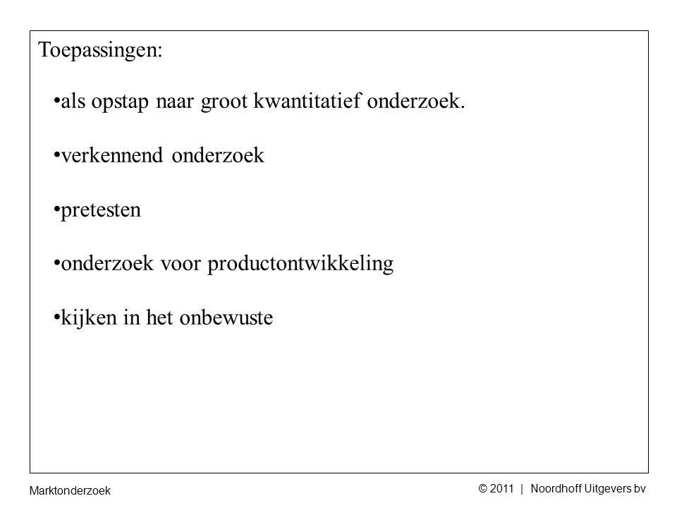 Marktonderzoek © 2011 | Noordhoff Uitgevers bv als opstap naar groot kwantitatief onderzoek.
