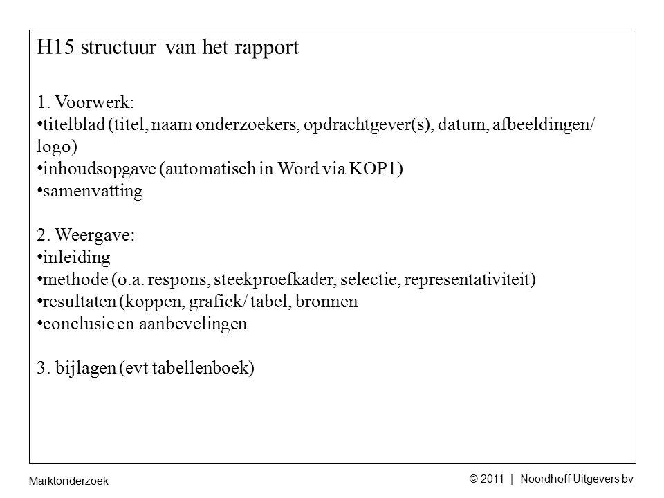 Marktonderzoek © 2011 | Noordhoff Uitgevers bv H15 structuur van het rapport 1.
