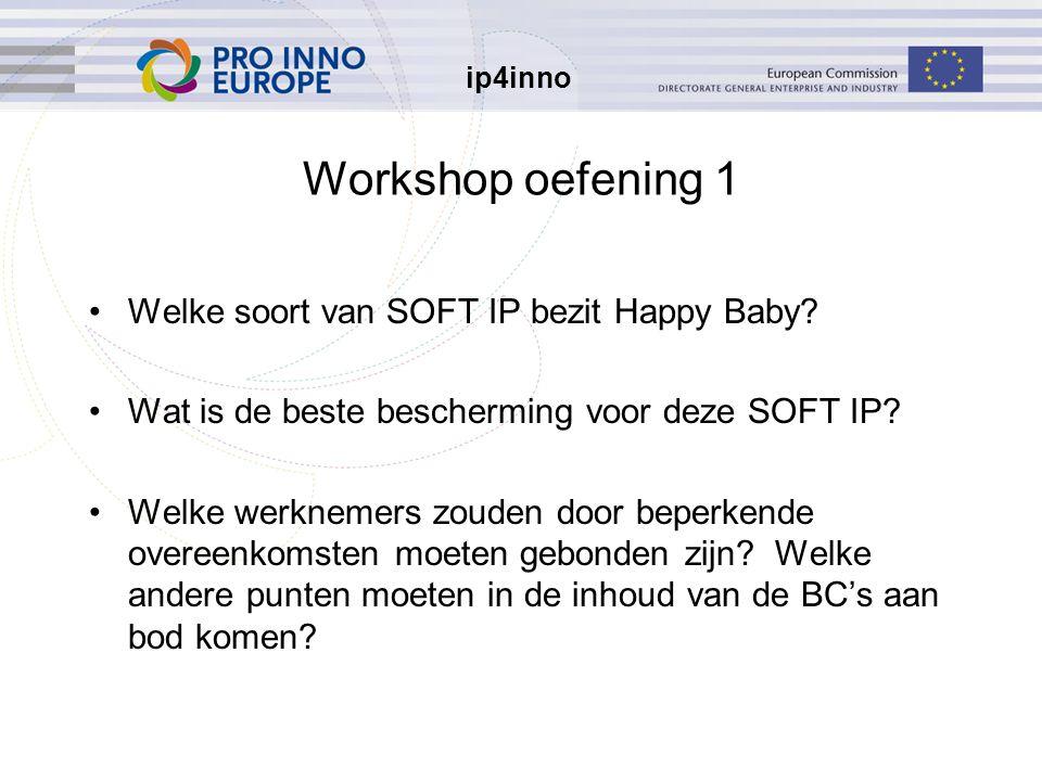 ip4inno Workshop oefening 1 Welke soort van SOFT IP bezit Happy Baby.