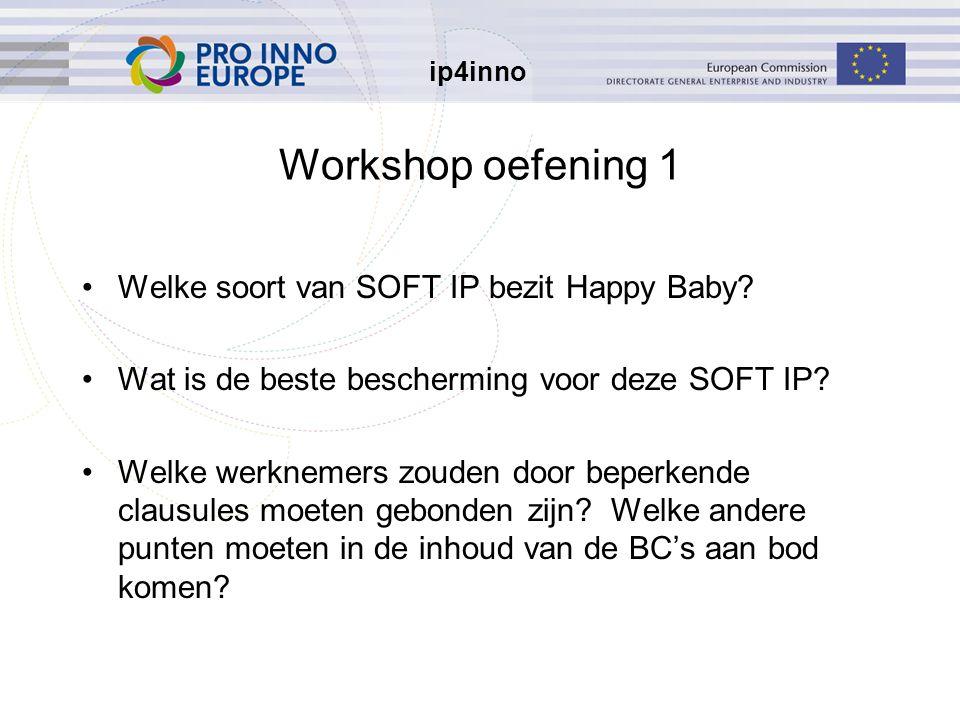 ip4inno Workshop oefening 1 Welke soort van SOFT IP bezit Happy Baby? Wat is de beste bescherming voor deze SOFT IP? Welke werknemers zouden door bepe