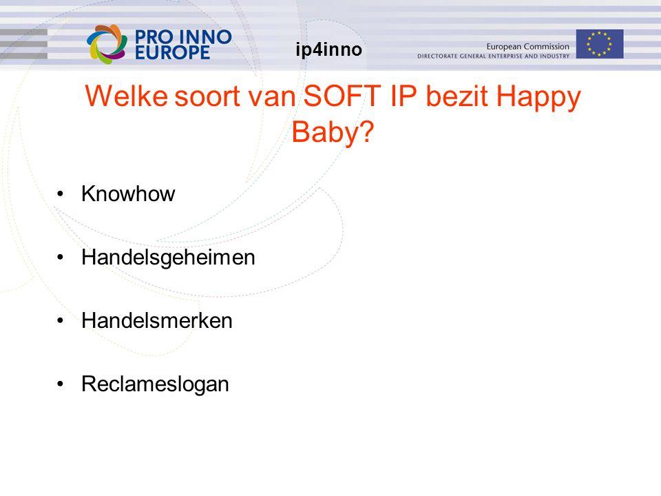 ip4inno Welke soort van SOFT IP bezit Happy Baby? Knowhow Handelsgeheimen Handelsmerken Reclameslogan