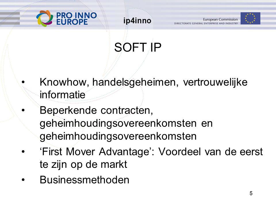 ip4inno 5 SOFT IP Knowhow, handelsgeheimen, vertrouwelijke informatie Beperkende contracten, geheimhoudingsovereenkomsten en geheimhoudingsovereenkomsten 'First Mover Advantage': Voordeel van de eerst te zijn op de markt Businessmethoden