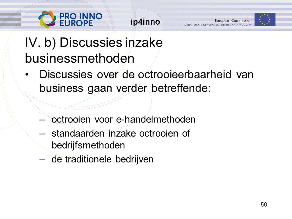 ip4inno 50 IV. b) Discussies inzake businessmethoden Discussies over de octrooieerbaarheid van business gaan verder betreffende: –octrooien voor e-han