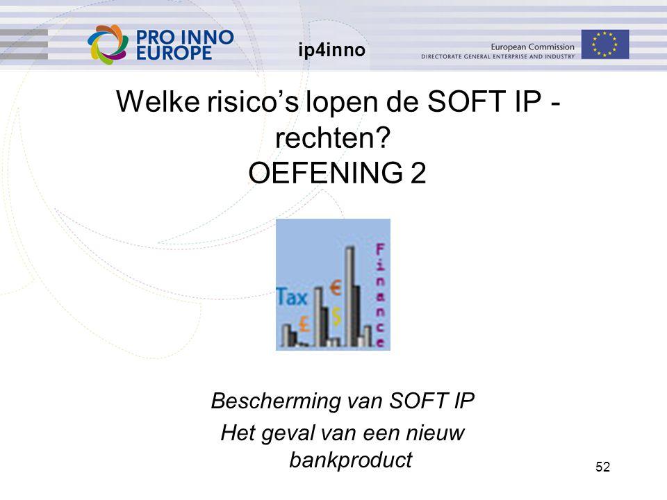 ip4inno 52 Welke risico's lopen de SOFT IP - rechten? OEFENING 2 Bescherming van SOFT IP Het geval van een nieuw bankproduct