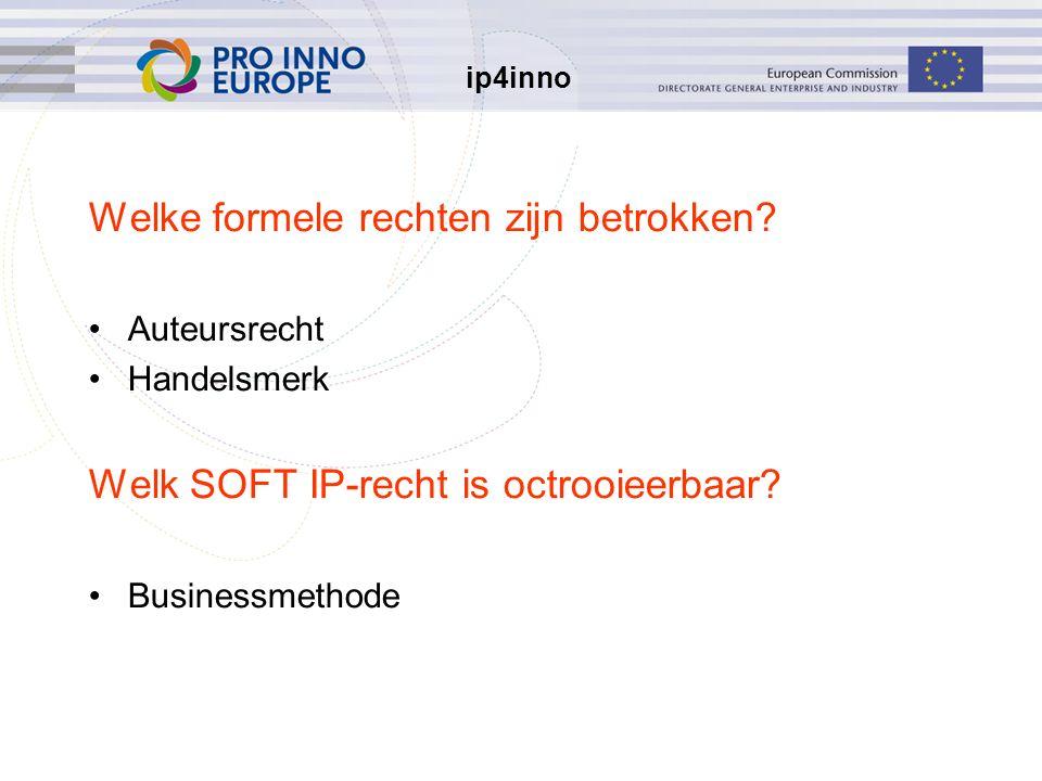ip4inno Welke formele rechten zijn betrokken? Auteursrecht Handelsmerk Welk SOFT IP-recht is octrooieerbaar? Businessmethode