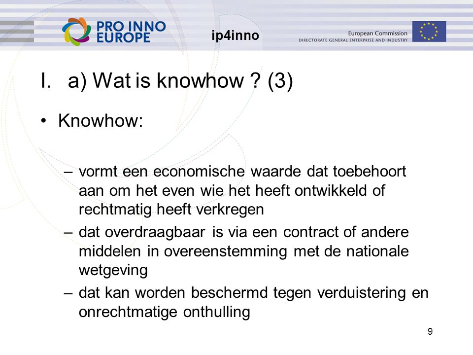 ip4inno 10 I.a) Wat is knowhow.