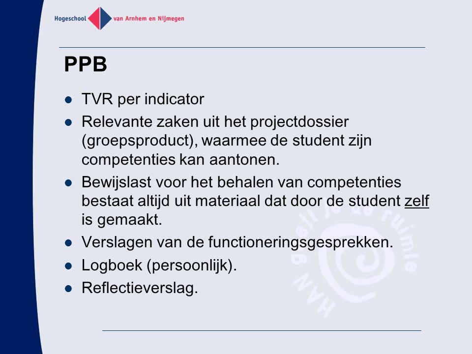 PPB TVR per indicator Relevante zaken uit het projectdossier (groepsproduct), waarmee de student zijn competenties kan aantonen. Bewijslast voor het b