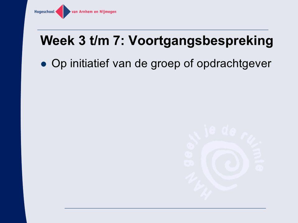 Op initiatief van de groep of opdrachtgever Week 3 t/m 7: Voortgangsbespreking