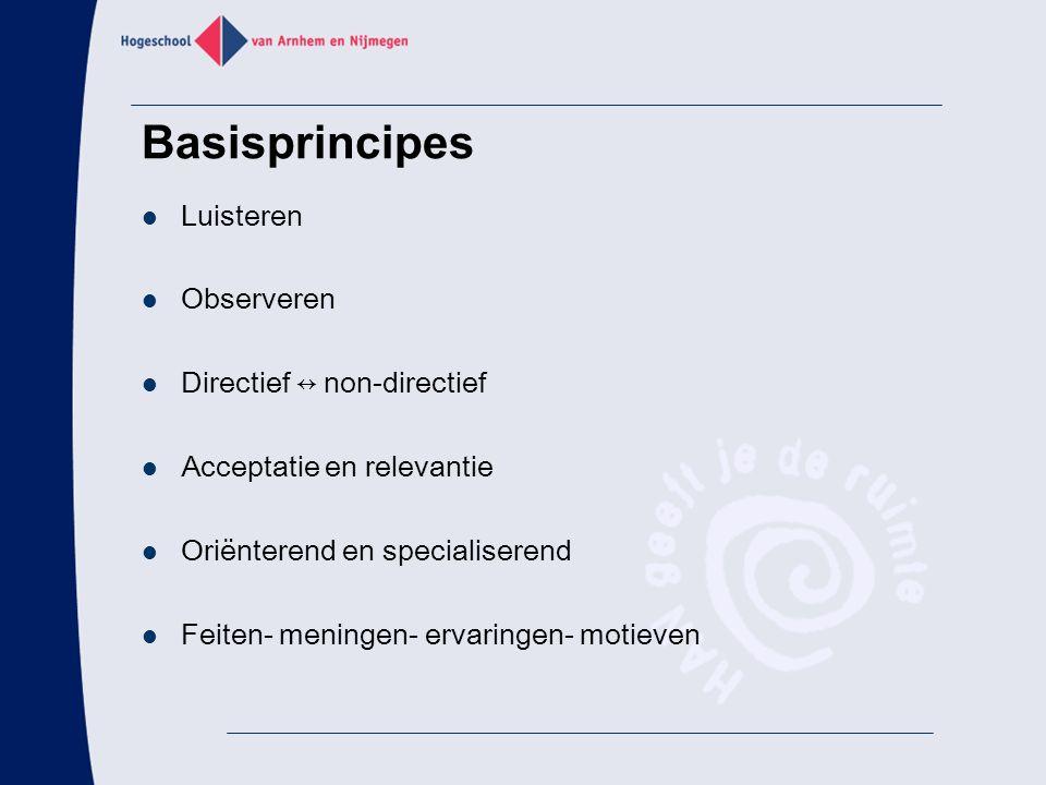 Basisprincipes Luisteren Observeren Directief ↔ non-directief Acceptatie en relevantie Oriënterend en specialiserend Feiten- meningen- ervaringen- mot